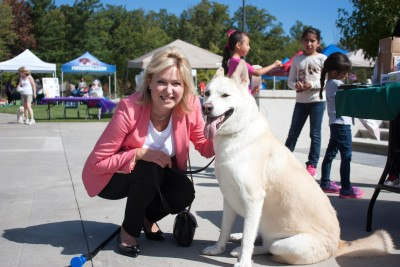 "Mayor Bonnie Crombie brought along her five-year-old golden husky Adonis to enjoy the festivities. Crombie describes her dog as ""very good natured, with a very, very lovely temperament in a dog."""