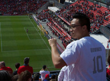 TFC fans cheer on the home team late in the game.