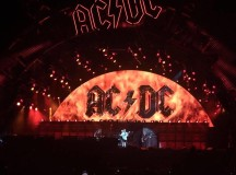 AC/DC light up stage with flaming screen.