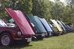 A display of Triumph TR6s
