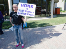 Men walked with signs to grab the communities attention at the Halton Women's Place Hope in High Heels event.