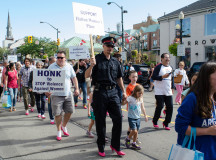 Many of the male participants walked alongside their children and families for the Hope in High Heels event.