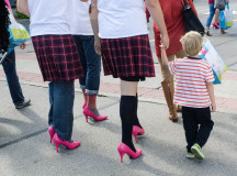 Two men from the kilt team walked with their families to show support for violence against women and children on Sept. 27 2015.