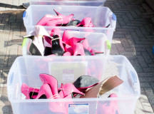 Many sizes of pink heels awaited the male participants last Sunday morning for a short walk down Lakeshore.