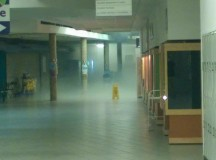 Sprinklers went off in the B wing on election night.  Photograph taken from the Spotted at Sheridan Facebook page