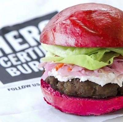 @burgersTO not only shows burgers of vast deliciousness, but also those with a story to tell. The #thinkpink burger by Hero Burger is served on a pink bun dyed by beets, to help support the Canadian Breast Cancer Foundation. Photo by @burgersTO