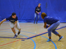 Nadene Boothe, closes in on Eric Bourdages during a game of dodge ball.