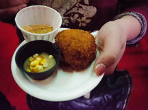 A corn and duck croquette served with a fine gravy from Mohawk Chop House and a honey and lavender biscotti from Liason College.