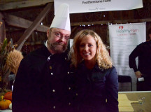 Sheridan journalism student Erin Queenan took a photo with Chef Mark Duncan from Liason college.