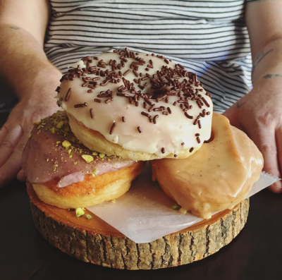 These doughnuts served up by Dun-Well Doughnuts were posted by @fatgrlfoodsquad, showing that some eats can both look good and be fantastically massive. Photo by @fatgrlfoodsquad.