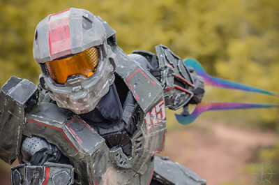 James Taggart in full costume as his own character from the Halo series, J Spartan 115. Photograph by: Alfredo Lainez