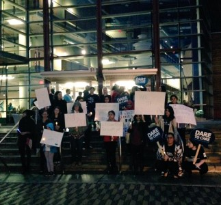 Photo Credit: Samantha Tu (Students and community members rally for Take Back the Night)