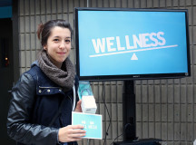 Jessica Johnson, a second year Illustration student, was the first person to win a free fitbit at the wellness event on Oct. 14.