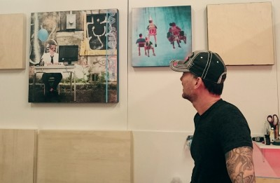 Mixed media photographer Morgan Jones discusses his artwork in his studio.