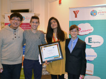 Peace Medallion youth nominees Alvin Leung, left, and Jack Mogus, youth medallion winner Aiza Abid and nominee David Vidicon, right.