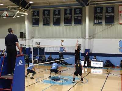A ferocious spike for a point at the net