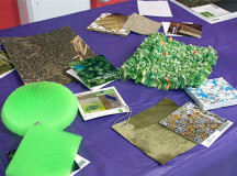 Material Connexion, a database full of innovative materials, was promoted during Library Awareness Week. Many of the items on display are composed of natural or recycled materials.