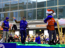 Toronto Blue Jays' outfielder Dalton Pompey, pitcher Liam Hendricks and mascot Ace certainly got the biggest cheers from the street.