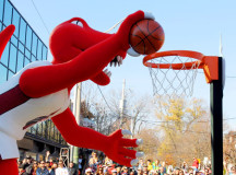 The Raptor scoring a dunk.