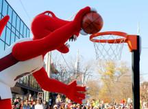 The Raptor scoring a dunk.