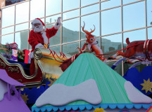 Jolly St. Nick wishing thousands holiday cheer.