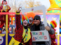Celebrity Clowns stopped along the parade route to take framed selfie.
