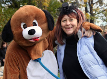 Matt the dog (with Stephanie) was putting smiles on everybody's faces at the Mutts and Monsters Walk-A-Thon