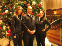 Samantha Botelho and Codie Black, International Marketing team, with Jim Deakin.