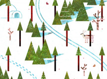An illustration depicting a ski trail and footsteps weaving through trees. Illustrated by Zach Cartman.