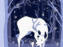An illustration depicting a deer walking through a snowy wood with her young. Illustrated by Kari Lynch.