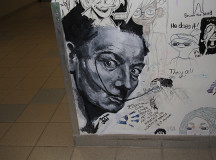 Painted by Meghan Judd, a portrait of Salvador Dali