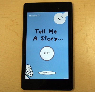 "Close up of the winning digital game app ""Tell me a Story"""