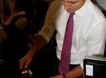 Trudeau pours the french press coffee.