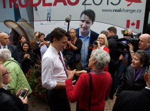 Justin Trudeau shakes hands and takes a photo with a former Sheridan Journalism Print program coordinator, Mary Lynn O'Shea.
