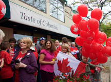 Liberal supporters wait outside of Taste of Colombia coffee shop for Liberal Party leader, Justin Trudeau's, arrival.