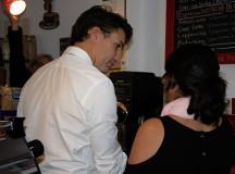 Not a coffee drinker himself, Trudeau was happy to help.