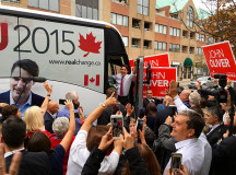 Justin Trudeau leaves Oakville but not with out one last wave.