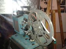 A vintage film projector.