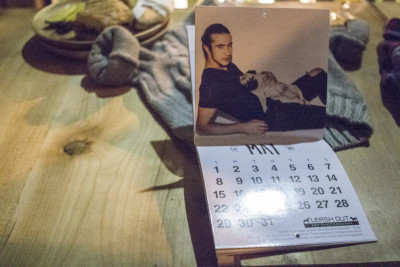 Barrett Lucak of Plutino Group model agency posed as Mr. May with Helmut for the charity calendar.