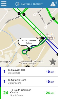 Screenshot of the Oakville Transit app displaying estimated arrival times for bus routes 1 and 24 to Sheridan College. (Photo by Jessica Roveda/The Sheridan Sun)