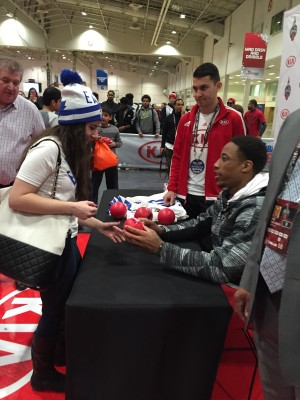 Toronto Raptors star DeMar DeRozan signed merchandise for fans for one hour during Saturday afternoon.