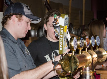 The Creemore booth was crowded all night with three kinds of beer on tap.