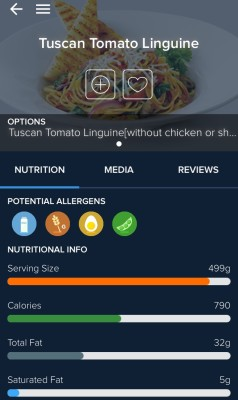 Screenshot of Second Waiter displaying nutritional information for Swiss Chalet's tuscan tomato linguine