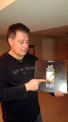 Keith Michaels points to the classic album art on Jeff Beck's Truth.