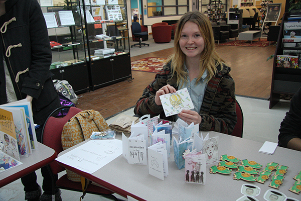 First year Illustration student Alicia Morris displays an array of original zines.