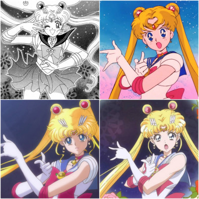 Top left; Sailor Moon's signature pose in the original 1991 manga series Top right: The original 1992 anime. Bottom left:: The first reboot, Sailor Moon Crystal (2014) Bottom right: the upcoming season of Sailor Moon Crystal (2016)