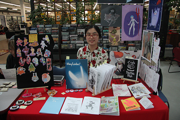 Second year animation student Christine Wong represented Sheridan's Comic making club with a popular display