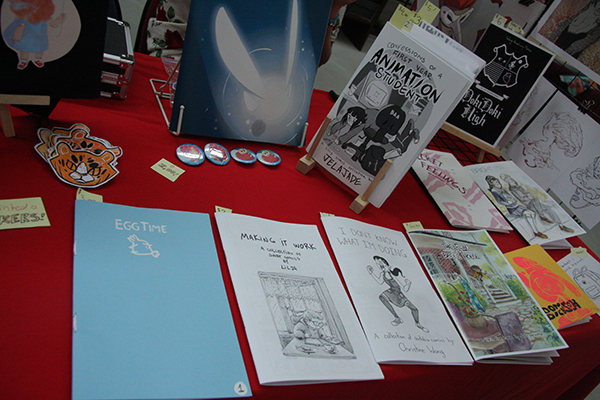 Zines and comics made by members of the comic making club