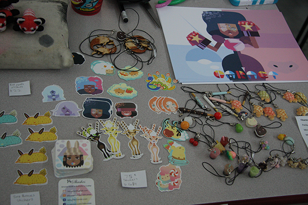 Some stickers and charms made from baking clay from the popular Cartoon Network show Steven Universe made by an Illustration student