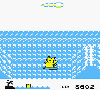 "Screenshot of the ""Pikachu's Beach"" mini-game from Yellow version"